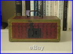 Miniature Paint Decorated Trinket Box or Document Box Circa 1830 Folk Art