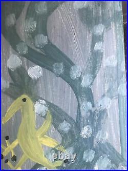 Mose T Painting Mose Tolliver Folk Art On Wood Original Signed Tree Bird