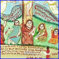 Myrtice West Folk Art Painting Jesus On Cross Outsider Raw Visionary