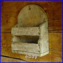 New England Pine Double Wall Box Candle Box in Old Blue Paint Folk Art