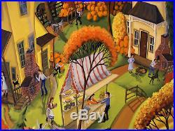 ORIGINAL 30x24 folk art painting Family Pumpkin patch barn dog cat Criswell Farm