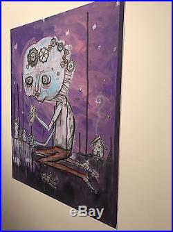 ORIGINAL Art Painting GUS FINK Outsider Canvas lowbrow punk folk NEVER GROW UP