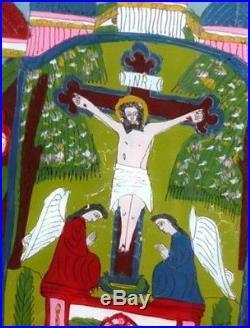 ORIGINAL FOLK ART 2 Angels/Cross REVERSE PAINTED ON GLASS CIRCA 1890