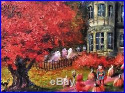 ORIGINAL Painting Lizzy FOLK ART Halloween Haunted Mansion MOON Ghost St Louis