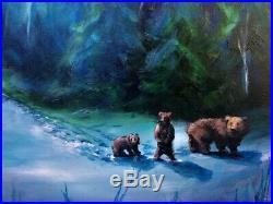 ORIGINAL Painting Lizzy FOLK ART Winter Woods BEARS Snow Christmas Night Moon