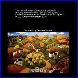 ORIGINAL painting 14x18 folk art PUMPKIN SOUP witch JOL black cat tin lantern DC