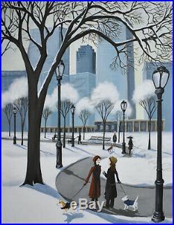 ORIGINAL painting Central Park winter Corgi dog pet woman coat walk folk art DC
