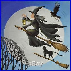 ORIGINAL painting Halloween witch black cat crow flying moon lantern folk art DC