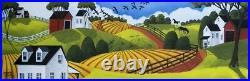 ORIGINAL painting folk art red barn landscape black bird horses farmhouse DC