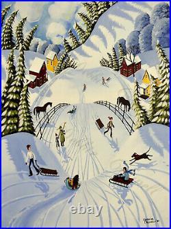 ORIGINAL painting landscape country folk art sledding snow winter whimsical DC