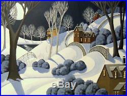ORIGINAL painting large 18x24 folk art winter landscape snow modern trees road