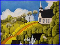 ORIGINAL painting large 30x24 folk art landscape large Spring springtime country