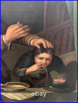 ORIG 19th Century Antique VICTORIAN Era MEDIEVAL DENTIST OIL PAINTING on TIN