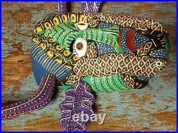 Ocumicho wood painted salamander mask wooden Mexican Mexico folk art vintage