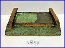 Old 14.5x6.5 Primitive Antique Table Box in Dry Green Paint Folk Art AAFA