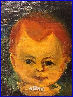Old Antique Or Vintage Original Folk Art Oil On Canvas Painting 2 Young Boys