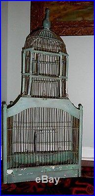 Old Antique Vintage Wood Wire Folk Art Bird Cage Original BlueGreen Paint French
