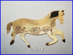 Old Antique Vtg 19th C Folk Art Carved Horn Horse Shaped Figural Original Paint
