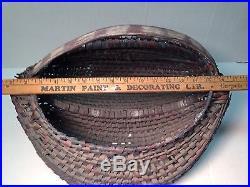 Old Folk Art Painted Southern Oak Splint Split Egg Butt Buttocks Basket 54 Ribs