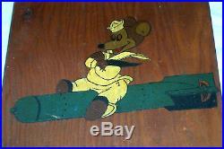 Old Folk Art Painting USS Raton Submarine Emblem US Navy Sailor & Torpedo WWII
