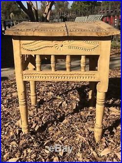 Old Vintage Mexican Side Table Original Yellow Paint Carved Top Folk Art
