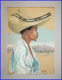 Old Vtg 1940s Folk Art Portrait Painting Mexican Man Wearing Sombrero Watercolor