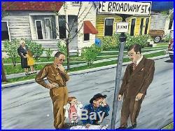 Oregon Artist Oil Painting Folk Art Americana Unusual Strange Street Scene 1947