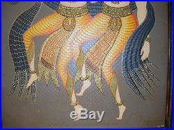 Original 1955 PAINTING FOLK ART 2 MEN HORSES DANCING PHYSICIANS HINDU MYTHOLOGY