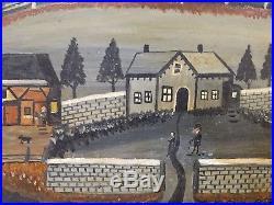 Original Antique American Folk Art Landscape Painting by Grandpa Isador Sommer