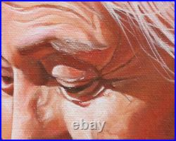 Original Artwork oil painting Senior tribe woman on canvas, portrait 16''x20