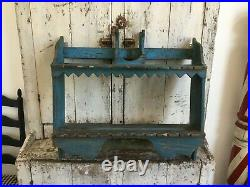 Original Blue Paint Antique Folk Art Aafa Wood Spoon Rack Holder Square Nails
