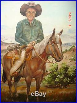 Original Estate Texas Artist Ferguson Oil Painting Folk Art Cowboy Horse