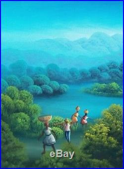 Original Haitian Folk Art Naif Painting CHARLES DUFRANC Haiti LANDSCAPE 16X20