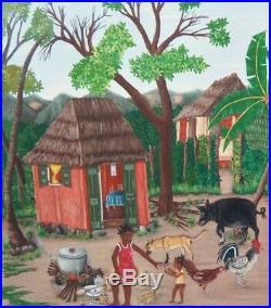 Original Haitian Folk Art Naif Painting HENRY JEHOVA Haiti FAMILY FARM 16X24