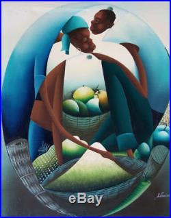 Original Haitian Folk Art Naif Painting JACQUES LOUISSAINT Haiti MARKET 20X24