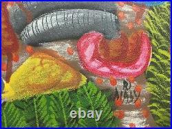 Original Haitian Folk Art Painting Farming Haiti Signed