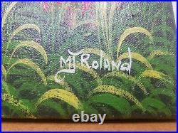 Original Haitian Folk Art Painting MJ ROLAND Haiti HARVEST 20 x 24
