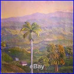 Original Haitian Folk Art Painting by Jean Adrien Seide Landscape Haiti 20X24