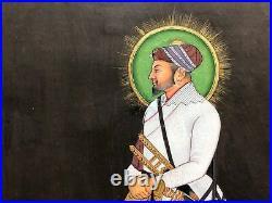 Original Indian Miniature Painting Fine Portrait of Mughal Nobleman