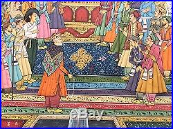 Original Indian Miniature Painting Mughal Empire'Court Scene' Handmade Folk Art