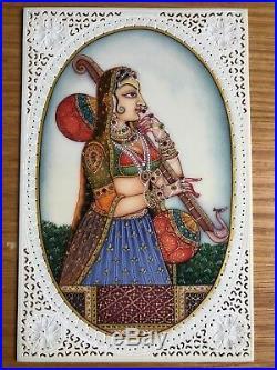 Original Indian Miniature Painting Portrait Ragini Resin Ivorine Folk Art