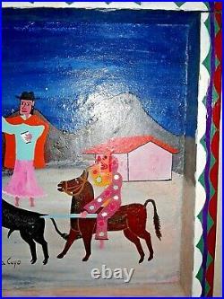 Original José Mario Vega Cuyo Painting of a Bullfight Ecuador, signed & framed