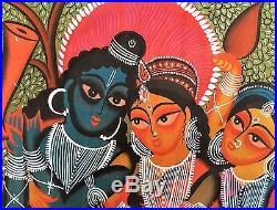 Original Kalighat Patachitra Indian Painting Hindu Gods Krishna Indian Folk Art