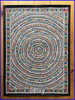 Original Madhubani Mithila Painting Mandala Circle Indian Folk Art