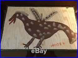 Original Mose T (Mose Tolliver) Folk Art Painting on Board signed- Vodka Bird
