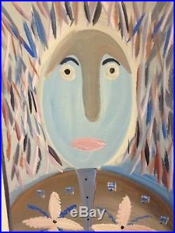 Original Mose T (Tolliver) Figural Folk Art Painting on Board