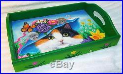 Original OOAK kitten cat mouse Easter bonnet wood tray folk art painting