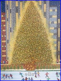 Original Oil painting Patricia Palermino NYC Tree at Rockefeller center folk art