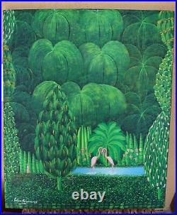 Original Painting Famous Haitian Art Felix Rosemond Haiti Forest Flamingos Lake