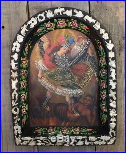 Original Painting & Mliagro Retablo St Michael Defeats Devil Mexican Folk Art